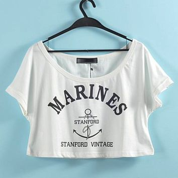 MARINES Graphic Crop Top Summer Cropped Tee from Brumaire Boutique