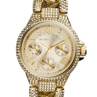 Michael Kors 'Mini Camille' Crystal Encrusted Chain Link Bracelet Watch, 34mm