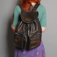 80s Dark Espresso Brown LEATHER BACKPACK / Oversized School Bag with Tons of Pockets