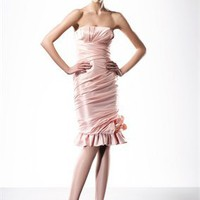 Straps deep v-neck pink satin sexy 2010 Love by Enzoani Prom Dresses EPD0060