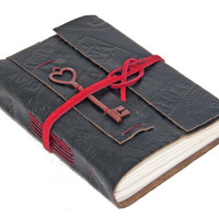 Embossed Black Leather Journal with Lined Paper and Heart Key Bookmark