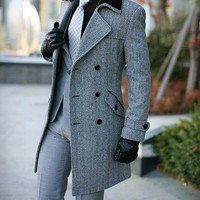 Fashion Long Slim Double Breasted Woolen Mens Overcoat