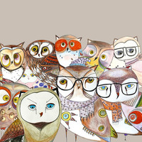 All owls together we are family Owls print Modern by O2Optimist