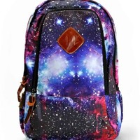 "ZLYC Fashion Unisex Universe Neon Galaxy Pattern Print Casual School Travel 13"" Laptop Backpack Daypack Tablet Bags Student Schoolbag"
