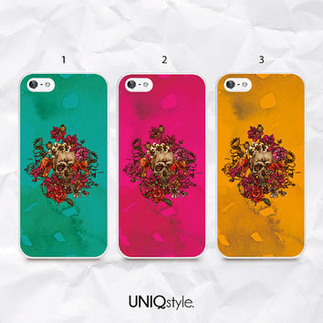 Colorful skull phone case back cover for iPhone 4/4s 5/5s 5c, Samsung s4, s4 active, s5, s5 active, note 2, note 3 - floral skull - N29