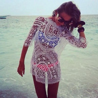 Vtg Women Sexy Lace Crochet Festival Tunic HIPPIE Boho Tee Tank Mini Dress Top