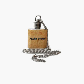 Flask Necklace 1oz -Mischief Managed from Harry Potter -  Looks like normal necklace when flask is hidden