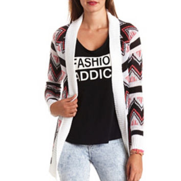 AZTEC CHEVRON OPEN CARDIGAN SWEATER