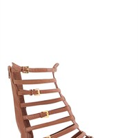 Open Toe Flat Gladiator Sandal with Zip Up Back