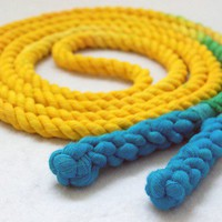 8ft Cotton Jump Rope HandSpliced Yellow &amp; by jupiterschild on Etsy