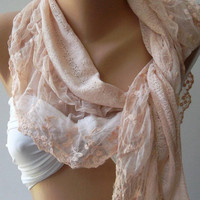 Salmon Pink Elegance Shawl - Scarf with Lacy Edge by womann