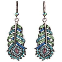 Josephine Wall Spirit of Flight Peacock Leverback Earrings By Kirks Folly (Silvertone)