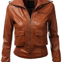 J.TOMSON Womens Faux Leather Zip Up Bomber Jacket