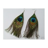 One Pair Natural Feather Peacock Earrings