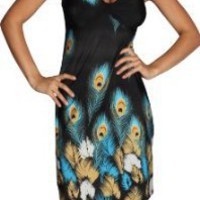 Alki'i Peacock Feather Print Casual Evening Party Cocktail Dress