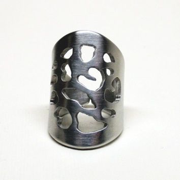 Extra Wide Leopard Cutout Metal Ring Original Design Handcrafted Silver Aluminum Sizes 6-12