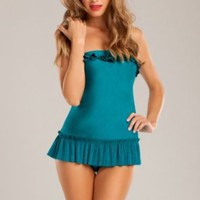 Betsey Johnson French Pastry One Piece Bandeau Swimdress