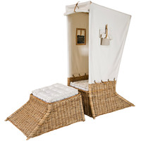 Covered Italian Wicker Chair and Ottoman