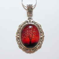 Ruby Sunset Wearable Art Cameo Necklace by saruscrafts on Etsy
