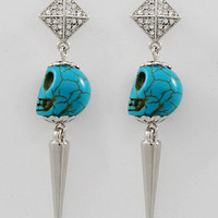 "30% off use promo code ""wanelo"" at checkout. Bone to Pick Turquoise Skull Earrings"
