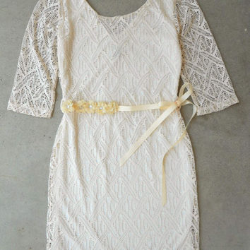 Ivory Lace & Layers Dress [5959] - $37.80 : Vintage Inspired Clothing & Affordable Dresses, deloom | Modern. Vintage. Crafted.