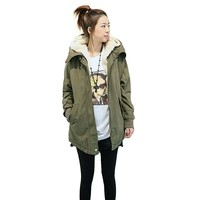 JINTO® Women Thicken Fleece Coat Zip up Hooded Overcoat (M, Army Green)