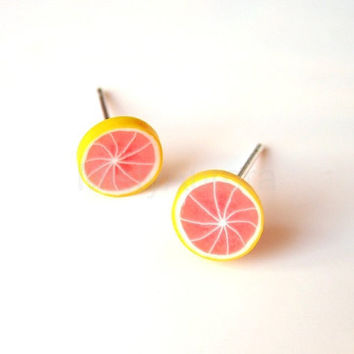 Pink and Yellow Grapefruit Slice Stud Earrings by MistyAurora