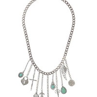 chain necklace with charm fringe