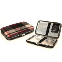 Wallet Business ID Card Holder Case Tartan Plaid Black