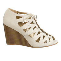 nude lucy lace up wedge