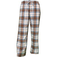 Brown and Light Blue tartan plaid check tie cord flannel cotton pants for lounging, sleep, sports. Unisex relaxed fit,