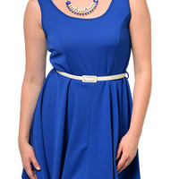 { BEST SELLER } Royal Plus Size Classy Fitted Scoop Neck Sleeveless Date Dress with Belt