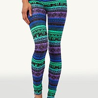 Purple Green Tribal Legging