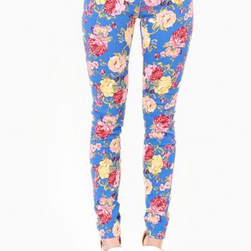 Fallon Floral Jeans in Blue