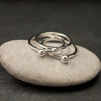 Sterling Silver Stacking Ring Set Silver Stack Rings 3 by Artulia