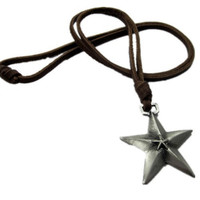 soft leather long necklace star pendant men by braceletcool