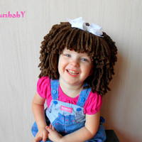 Cabbage Patch Brunette Yarn Wig Halloween Costume for Girls Photo Props Pageant Clothes Dora Explorer costume