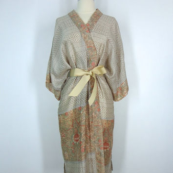 Silk Robe Kimono / Hand Made / Vintage Indian Sari / Muted Tan Sage Chevron Floral Print / Limited Edition