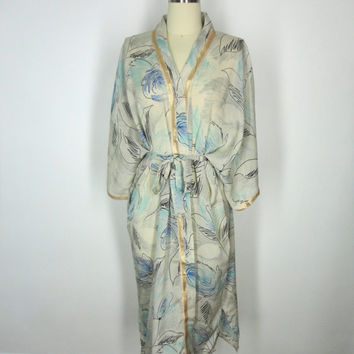 Chiffon Robe Kimono / Hand Made / Vintage Indian Sari / White Blue Floral Print / Limited Edition