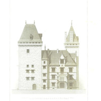 1873 Architectural Print,  Facade Chateau de Pau,  French Architecture