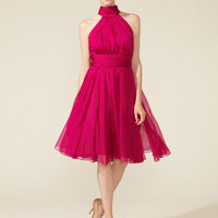 Silk Flutter Back Halter Dress by Badgley Mischka Collection up to 60% off at Gilt