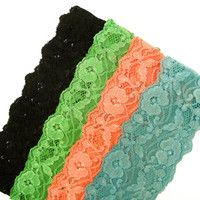 Lacey Headbands Hair Accessory Stretchy Headbands Yoga Headband Black Green Peach Turquoise Cute Teen Women Small Gifts - Buy 2 Get 3rd Free