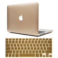 Dealgadgets Frosted Matte Surface Crystal Hard Shell Case for MacBook Pro 13.3-inch A1278 Aluminum Unibody with Silicone Keyboard Cover Skin Stickers Protector (Gold)