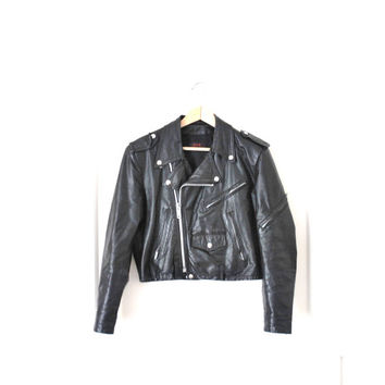 leather motorcycle jacket / small cropped black leather punk ROCKER unisex biker jacket