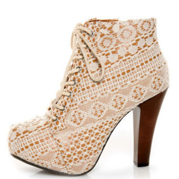 Qupid Puffin 39 Ivory Fabric Lacy Lace-Up Booties - $51.00