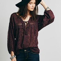 Free People Womens Eyelet Lace Up Peasant Top
