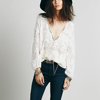 Free People Womens Embellished Deep V Peasant Top - Ivory,