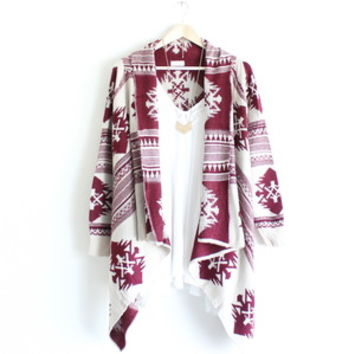 aztec waterfall cardigan | burgundy from paper hearts