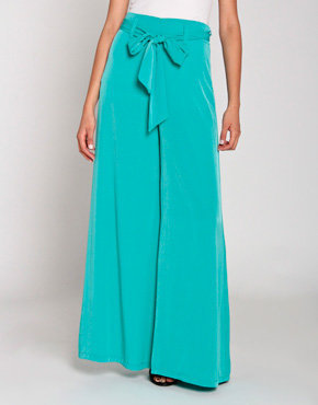 Satin Wide Pants in Teal