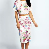 June Floral Print Crop Top And Midi Skirt Co-Ord Set